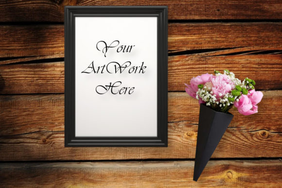 Frame Mockup, Flowers, Wood Background Graphic Product Mockups By MockupsByGaby