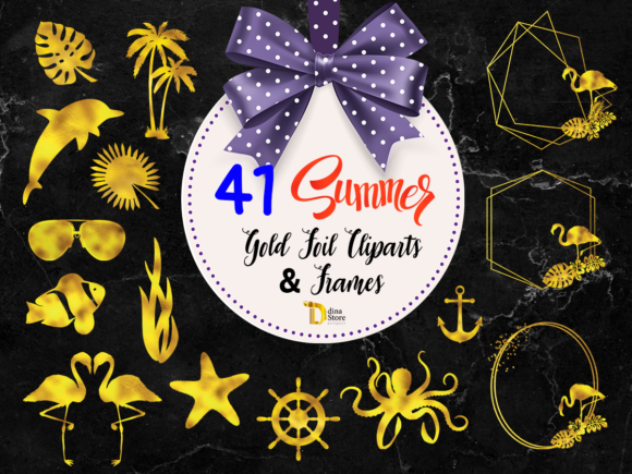 Print on Demand: Gold Foil Summer Cliparts and Frames PNG Graphic Crafts By dina.store4art