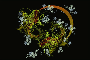 Print on Demand: Gold Koi Fish & Shells Embroidery Design By Samsul Huda