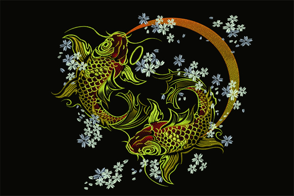 Gold Koi Fish & Shells Embroidery Design By Samsul Huda