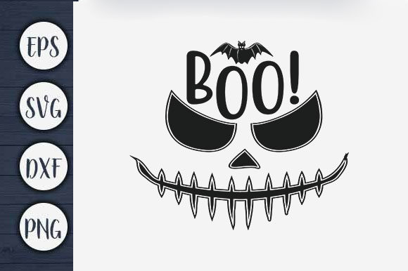 Print on Demand: Halloween T-shirt Design, Boo Graphic Print Templates By CreativeArt