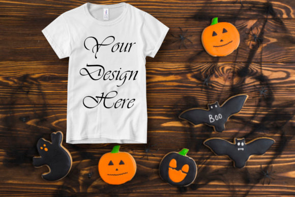Halloween T-shirt Mockups, Kids Clothes Graphic Product Mockups By MockupsByGaby - Image 1