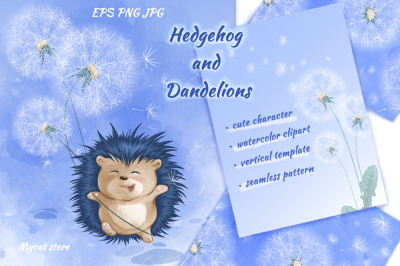 Hedgehog and Dandelions Graphic Illustrations By Maycat