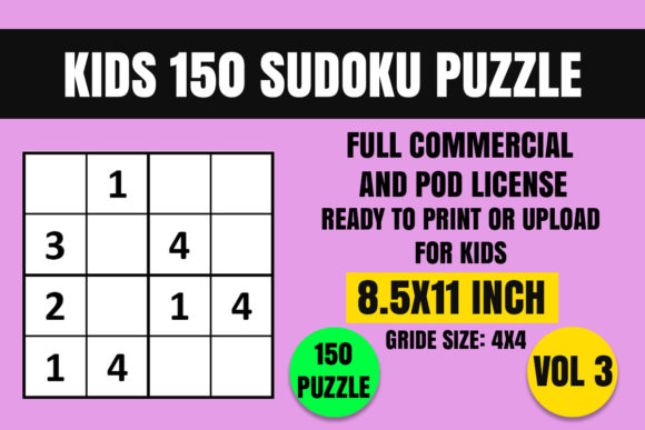 Print on Demand: Kids 150 Sudoku Puzzle Book(4x4) Vol. 3 Graphic Coloring Pages & Books Kids By Creative_Design