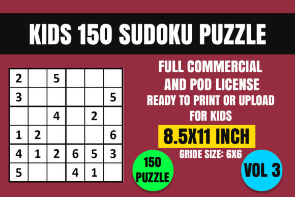 Print on Demand: Kids 150 Sudoku Puzzle Book(6x6) Vol. 3 Graphic Coloring Pages & Books Kids By Creative_Design