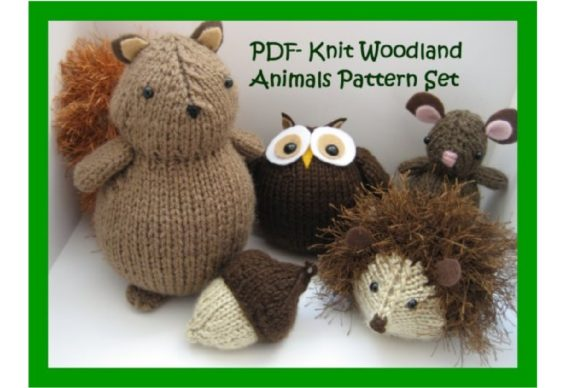 Knit Woodland Animals Pattern Set Graphic Knitting Patterns By Amy Gaines Amigurumi Patterns - Image 1