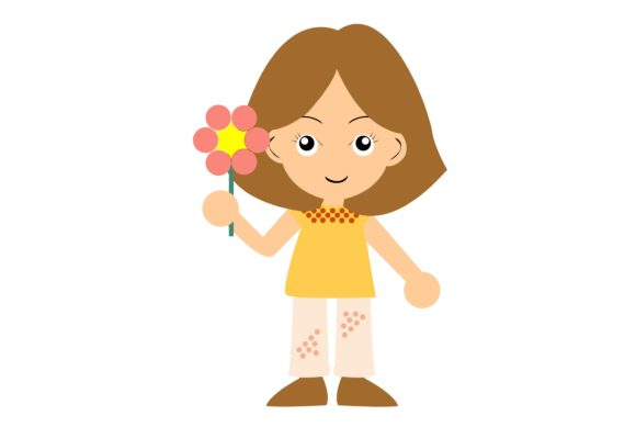 Little Girl with Flowers in Her Hands Graphic Illustrations By harunikaart