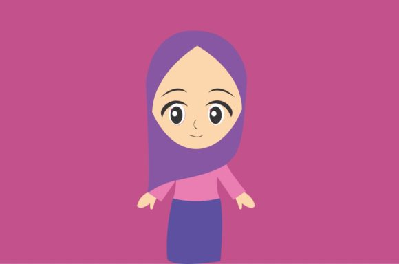 Little Girl with Hijab Lavender Theme Graphic Illustrations By harunikaart