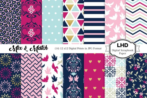 Mix & Match Navy & Pink Patterns Graphic Patterns By LeskaHamatyDesign