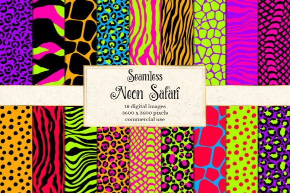 Print on Demand: Neon Safari Digital Paper Graphic Backgrounds By Digital Curio - Image 1