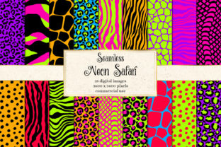 Print on Demand: Neon Safari Digital Paper Graphic Backgrounds By Digital Curio