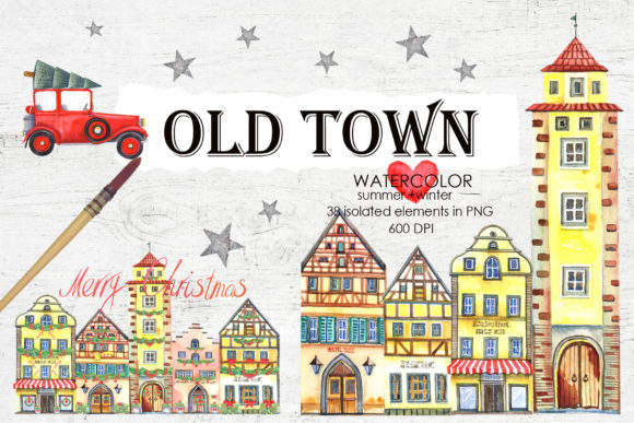 OLd Town Graphic Illustrations By evgenia_art_art