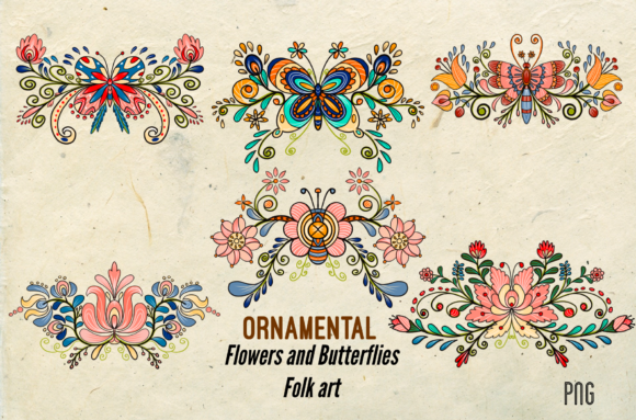 Print on Demand: Ornamental Flowers Butterflies Folk Art Graphic Illustrations By Suda Digital Art