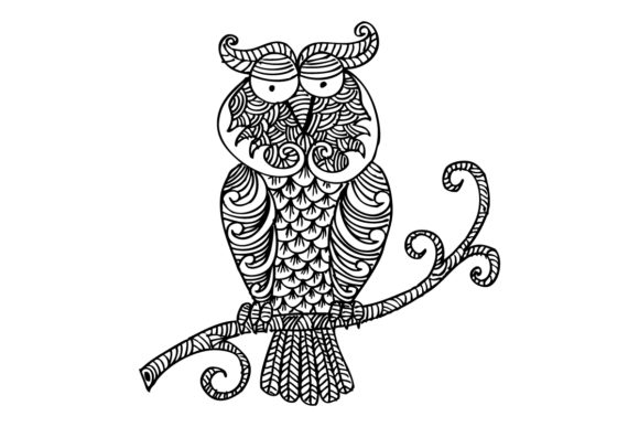 Owl Sitting on Branch Graphic Crafts By han.dhini