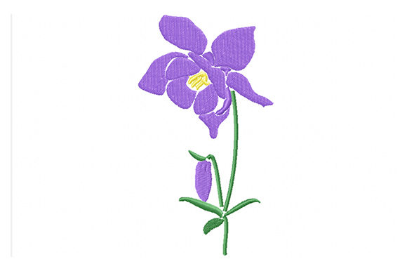 Print on Demand: Purple Сolumbine Flowers Single Flowers & Plants Embroidery Design By EmbArt