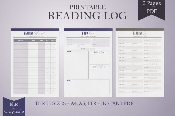 Print on Demand: Reading Log Printables - Blue/Grayscale Graphic KDP Interiors By Digital Town