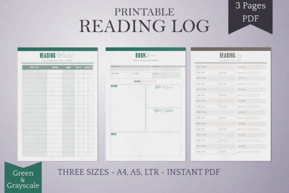 Print on Demand: Reading Log Printables - Green/Grayscale Graphic KDP Interiors By Digital Town