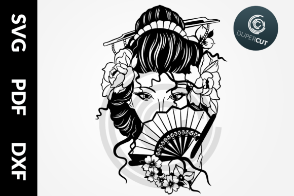 SVG / PDF / DXF Files - Geisha Graphic Illustrations By DuperCut