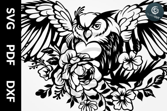 SVG / PDF / DXF Files - Owl with Flowers Graphic Illustrations By DuperCut