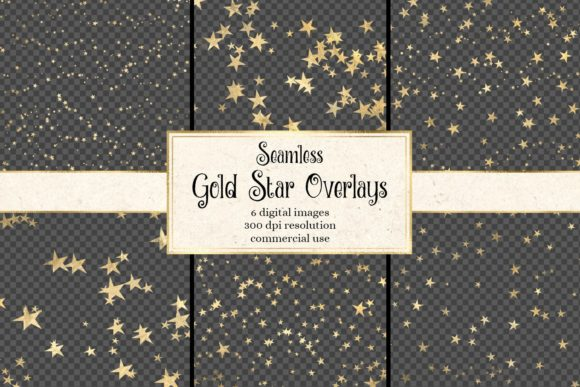 Print on Demand: Seamless Gold Star Overlays Grafik Illustrationen von Digital Curio