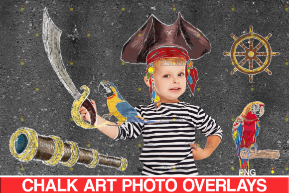 Sidewalk Chalk Overlay: Pirate, Parrot Graphic Illustrations By 2SUNS