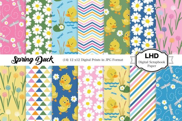 Spring Duck Digital Papers Graphic Patterns By LeskaHamatyDesign