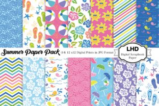 Summer Paper Pack - Digital Papers Graphic Patterns By LeskaHamatyDesign