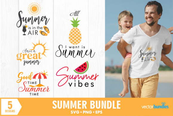 Print on Demand: Summer Season Holiday Quotes Bundle Graphic Crafts By vectorbundles