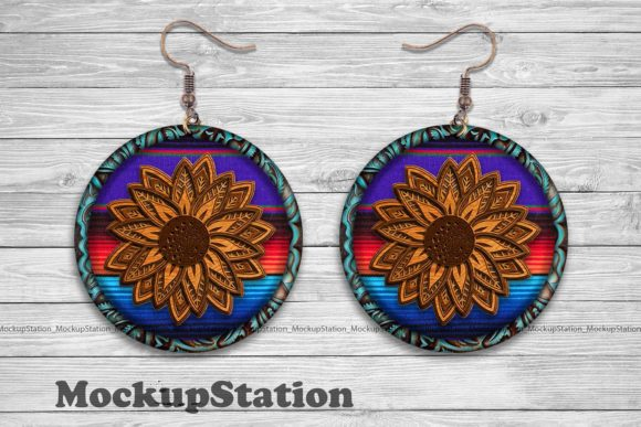 Print on Demand: Sunflower Serape Earring Sublimation Graphic Crafts By Mockup Station