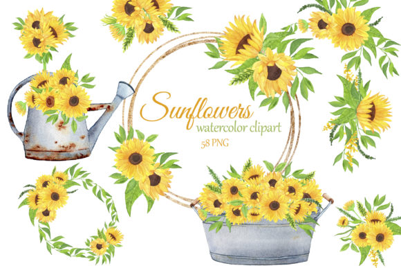 Print on Demand: Sunflowers Watercolor Clipart Graphic Illustrations By s.yanyeva