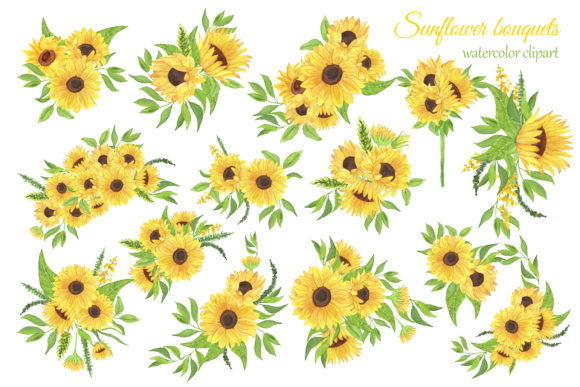 Print on Demand: Sunflowers Watercolor Clipart Graphic Illustrations By s.yanyeva - Image 2