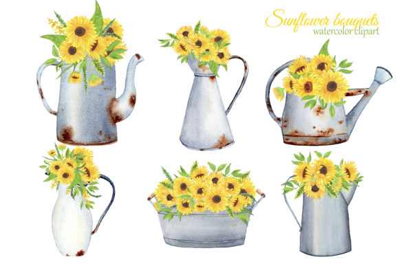 Print on Demand: Sunflowers Watercolor Clipart Graphic Illustrations By s.yanyeva - Image 3