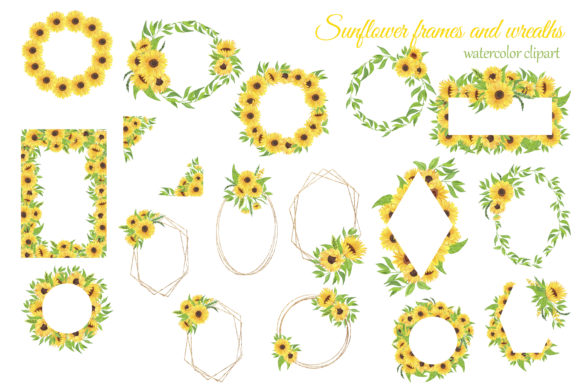 Print on Demand: Sunflowers Watercolor Clipart Graphic Illustrations By s.yanyeva - Image 4