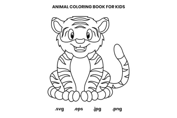 Print on Demand: Tiger Coloring Book Page for Kids Graphic Coloring Pages & Books Kids By doridodesign