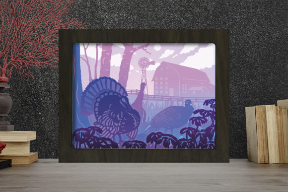 Turkey Birds Light Box Shadow Box Graphic 3D Shadow Box By LightBoxGoodMan