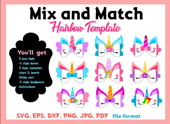Unicorn Mix and Match - HairBow Template Graphic Graphic Templates By momstercraft