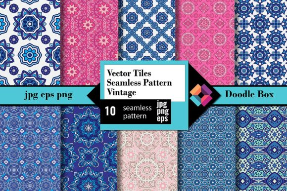 Vector Tiles Seamless Pattern Vintage Graphic Patterns By DoodleBox