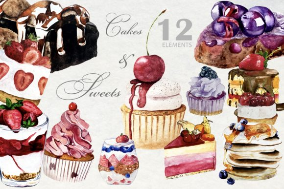 Watercolor Bakery, Cupcake and Pancakes Graphic Illustrations By Art and Funny