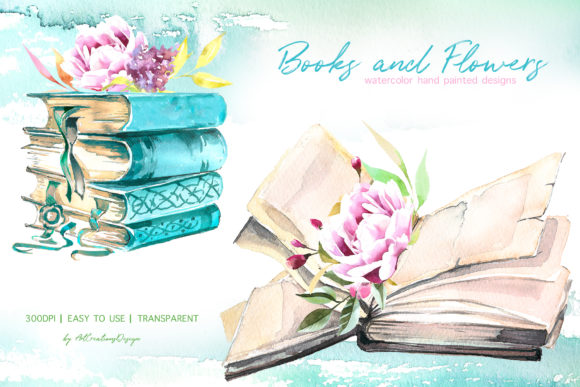 Watercolor Books and Flowers Designs Graphic
