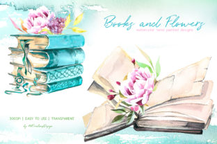 Watercolor Books and Flowers Designs Graphic Illustrations By artcreationsdesign