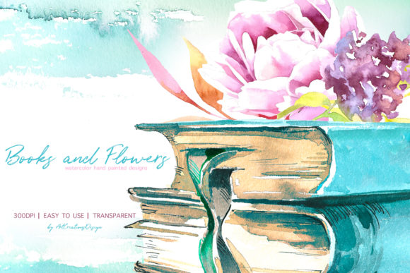 Watercolor Books and Flowers Designs Graphic Download