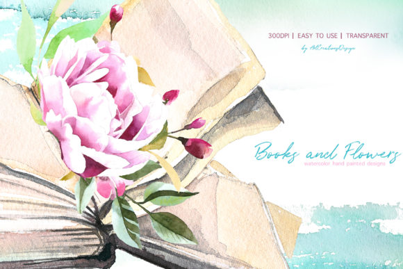 Watercolor Books and Flowers Designs Graphic Item