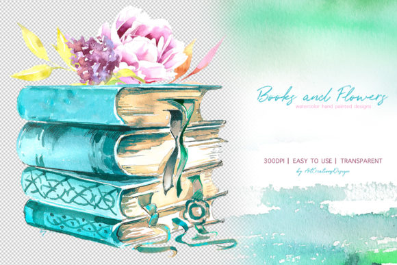 Watercolor Books and Flowers Designs Graphic Design