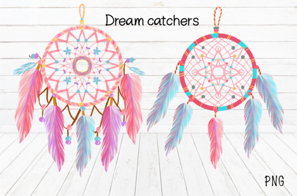 Print on Demand: Watercolor Dream Catchers ClipArt Graphic Illustrations By Suda Digital Art