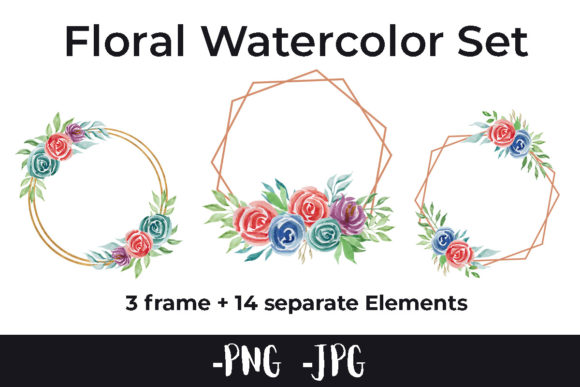 Print on Demand: Watercolor Flower Frame Set Graphic Illustrations By AzrielMch