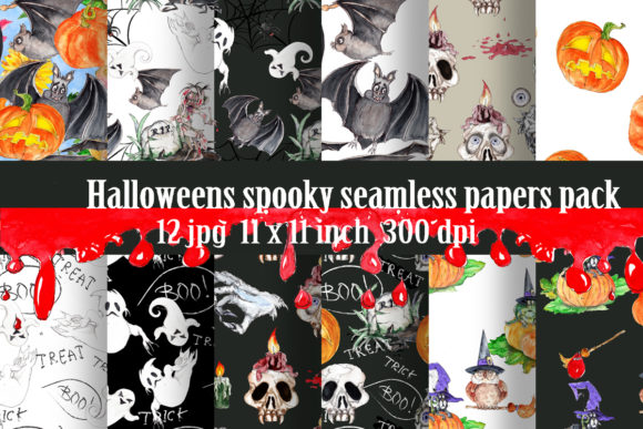 Watercolor Halloween Patterns Bundle Grafik Muster von arevkasunshine