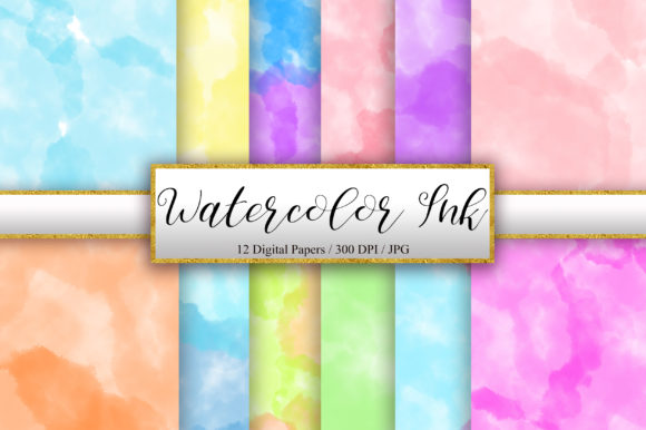 Watercolor Ink Background Graphic Backgrounds By PinkPearly