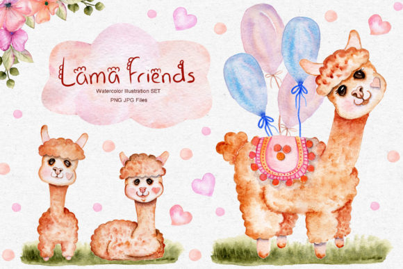Print on Demand: Watercolor Lama Illustration Set Graphic Illustrations By tanatadesign