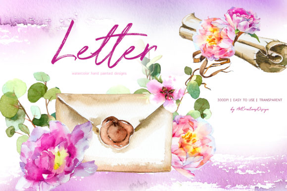 Watercolor Letter Designs Graphic Illustrations By artcreationsdesign