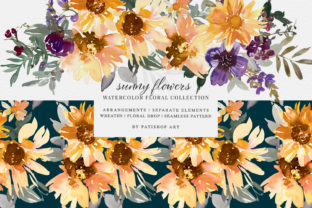 Watercolor Sunflower Clipart Collection Graphic Illustrations By Patishop Art